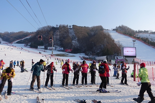 This photo shows a group of Malaysian tourists taking ski lessons at Vivaldi Park ski resort in Hongcheon, South Korea. The resort, together with the state-run Korea Tourism Organization, is hosting the Ski Korea Festival. (Photo courtesy of Daemyung Resort)