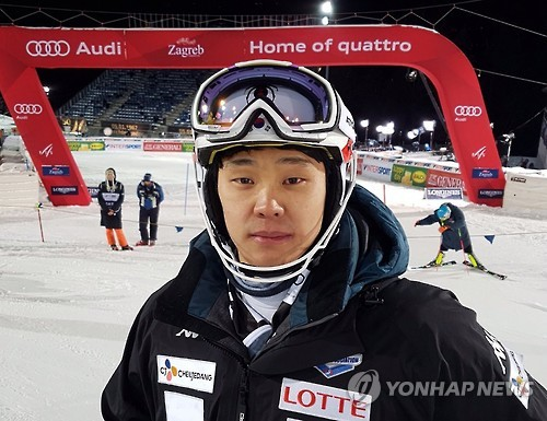 In this photo provided by the Korea Ski Association on Jan. 6, 2017, South Korean alpine skier Jung Dong-hyun poses for a picture after finishing his slalom race in Zagreb, Croatia. (Yonhap)