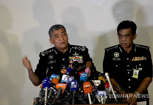Malaysia's national police chief Khalid Abu Bakar tells reporters on Feb. 22, 2017, in Kuala Lumpur that two more North Koreans including a diplomat have been identified as suspects involved in the death of the half brother of the North's leader Kim Jong-un. (Yonhap)