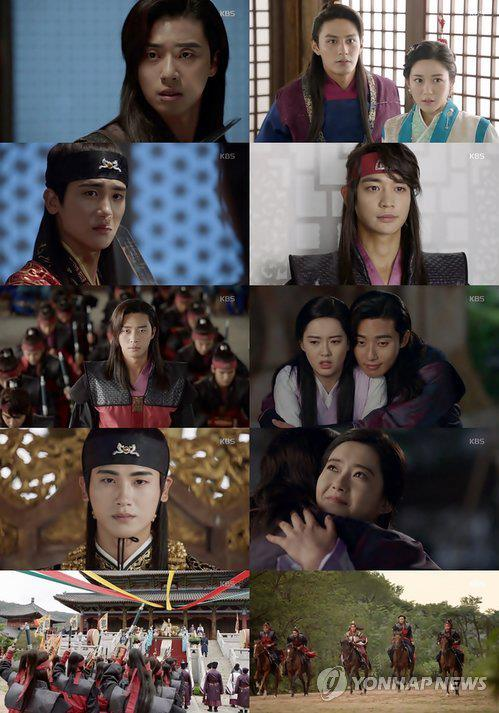 "This composite photo captured from the KBS 2TV series ""Hwarang"" shows the drama's main cast. (Yonhap)"