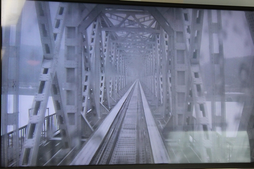 An in-train screen shows the Imjingang Railroad Bridge (Yonhap)