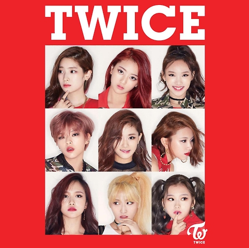 """This image provided by JYP Entertainment shows the cover of TWICE's new digital album """"What's Twice"""" released on Feb. 23, 2017. (Yonhap)"""