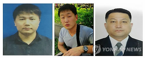 This picture compiled with photos released by the European news photo agency EPA on Feb. 22, 2017, shows three North Korean suspects who are at large in Malaysia in connection to the death of the half brother of North Korean leader Kim Jong-un. Hyon Kwang-song (R), 44, is the second secretary of the North Korean Embassy in Kuala Lumpur. The next photos show a 30-year-old man identified as Ri Ji-u (C) and Kim Uk-il (L), a 37-year-old employee at Air Koryo, the North's flag carrier. (Yonhap)