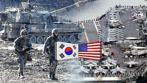 This undated Yonhap News TV image shows soldiers and strategic assets during the South Korea-U.S. joint springtime exercises in 2016. (Yonhap)
