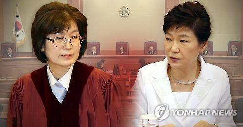 This image shows President Park Geun-hye (R) and Lee Jung-mi, acting chief of the Constitutional Court. (Yonhap)