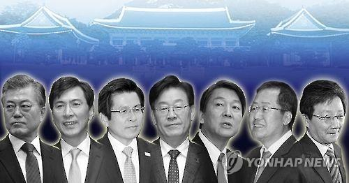 From left to right -- Moon Jae-in, former head of the Democratic Party, South Chungcheong Gov. An Hee-jung, Acting President and Prime Minister Hwang Kyo-ahn, Seongnam Mayor Lee Jae-myung, Rep. Ahn Cheol-soo of the People's Party, South Gyeongsang Gov. Hong Joon-pyo, Rep. Yoo Seong-min of the Bareun Party (Yonhap)