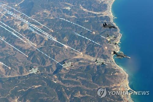 Air Force fighters participating in a drill. (Yonhap file photo)