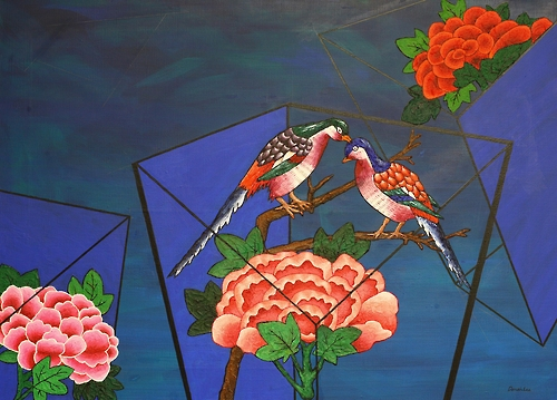"""This image provided by South Korean artist Lee Don-ah shows her flowers and birds painting (91x765.2cm, mixed media, 2014), part of the """"Time and Space"""" series. (Yonhap)"""