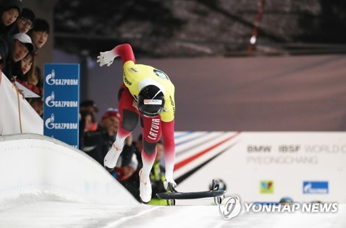 Martins Dukurs of Latvia starts his skeleton race at the International Bobsleigh and Skeleton Federation World Cup at Alpensia Sliding Centre in PyeongChang, Gangwon Province, on March 17, 2017. (Yonhap)
