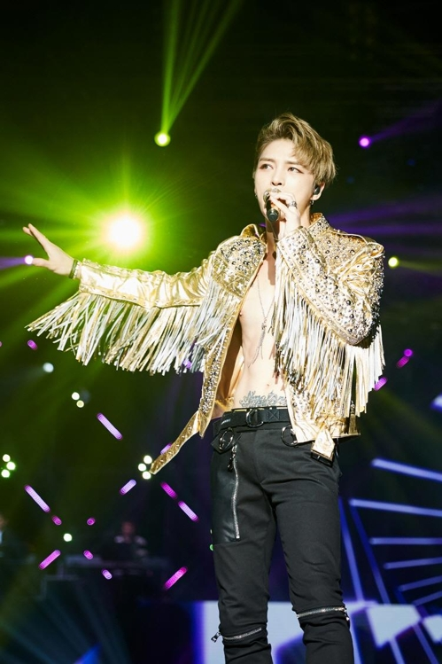 This photo provided by C-JeS Entertainment shows Kim Jae-joong perform in Thailand on March 18, 2017. (Yonhap)