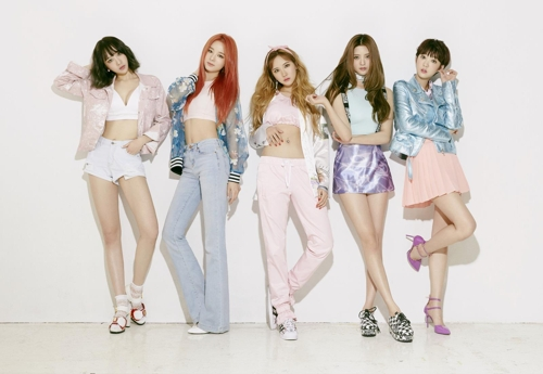 """A promotional photo of South Korean girl group EXID, which will release its new EP album """"Eclipse"""" on April 10. Member Solji (2nd from L) will not participate in promotional activities due to her health. (Yonhap)"""