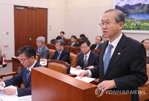 This photo, taken on Feb. 23, 2017, shows First Vice Foreign Minister Lim Sung-nam speaking during a parliamentary session at the National Assembly in Seoul. (Yonhap)