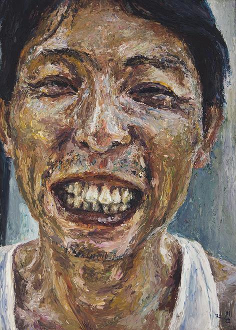 "The image provided by artist Oh Chi-gyun shows ""Figure 213,"" his self portrait, painted in 1997. (Yonhap)"