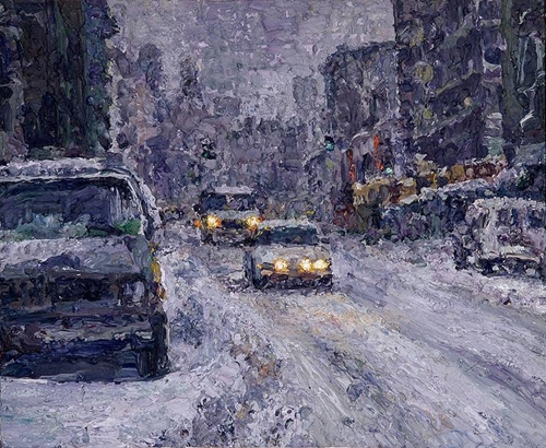 "The image provided by artist Oh Chi-gyun shows ""Last winter,"" painted in 1995. (Yonhap)"