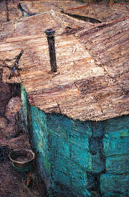 "The image provided by artist Oh Chi-gyun shows ""Blue Bricks,"" painted in 2001. (Yonhap)"