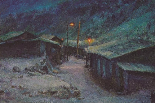 "The image provided by artist Oh Chi-gyun shows ""Company Housing at Night,"" painted in 2007. (Yonhap)"