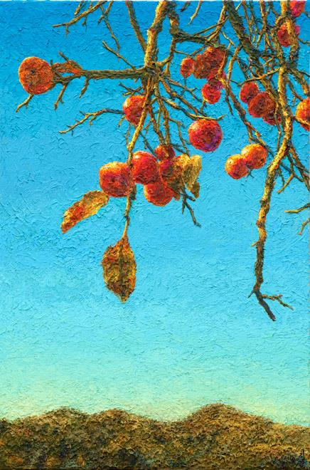 "The image provided by artist Oh Chi-gyun shows ""Persimmon,"" painted in 2014. (Yonhap)"