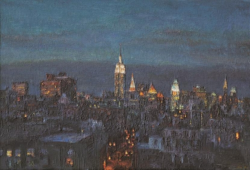 "The image provided by artist Oh Chi-gyun shows ""Empire State,"" painted in 1994. (Yonhap)"