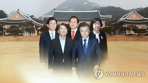 This image shows the leading contenders in South Korea's presidential election (clockwise from upper left): Yoo Seong-min, Hong Joon-pyo, Sim Sang-jung, Moon Jae-in and Ahn Cheol-soo. (Yonhap)