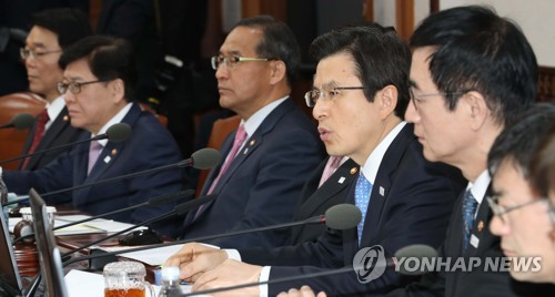 Acting President and Prime Minister Hwang Kyo-ahn speaks during a Cabinet meeting at the central government complex in Seoul