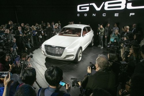 The Genesis GV80 Concept SUV unveiled at the New York Auto Show press day on April 12, 2017 (Courtesy of Hyundai Motor) (Yonhap)