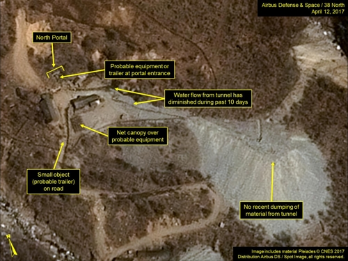 A new commercial satellite image of North Korea's nuclear test site in Punggye-ri released by the 38 North website based in Washington, D.C. (Yonhap)