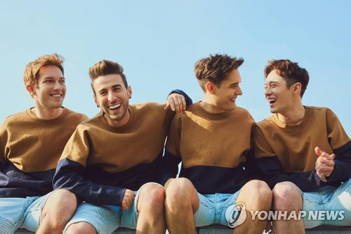 "A publicity photo of EXP Edition, mostly white, all-American ""K-pop"" band, provided by the team's agency IMMABB. (Yonhap)"