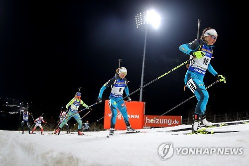 In this file photo taken on March 4, 2017, athletes compete in the women's 10-kilometer pursuit at the International Biathlon Union (IBU) World Cup at Alpensia Biathlon Centre in PyeongChang, Gangwon Province. The competition was held as a test event for the 2018 PyeongChang Winter Olympics. (Yonhap)