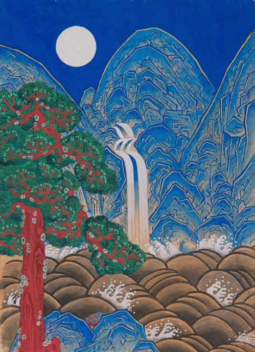"The image provided by the Korean Folk Painting Association on April 20, 2017 shows Kwon Jeong-soon's ""Obongdo."" (Yonhap)"