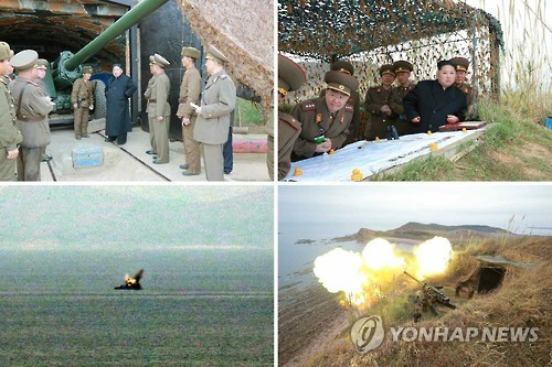 These photos released by Rodong Sinmun in Nov. 2016 show a firing drill on North Korea's western coast. (Yonhap) (For Use Only in the Republic of Korea. No Redistribution)