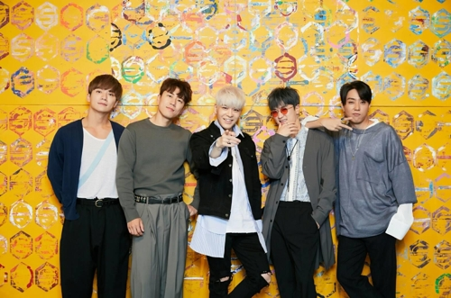 In this photo provided by YG Entertainment, members of South Korean idol group Sechs Kies pose during a group media interview on April 27, 2017, at a YG building in Seoul. (Yonhap)