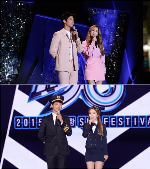 """South Korean actor Park Bo-gum (L) and Irene from the K-pop girl group Red Velvet host """"Music Bank"""" on KBS 2TV. (Yonhap)"""