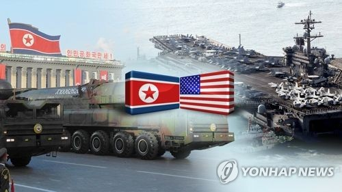An image, provided by Yonhap News TV, of stand-offs between North Korea and the United States. (Yonhap)