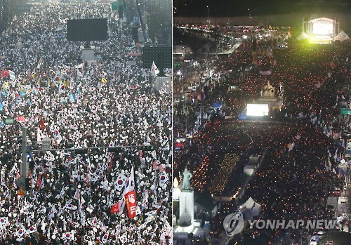 This compilation image shows citizens rallying in separate pro-impeachment (R) and anti-impeachment (L) protests in central Seoul on March 4, 2017. (Yonhap)