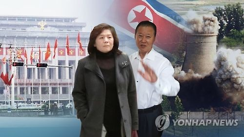 This composite image provided by Yonhap News TV shows North Korean diplomats Choe Son-hui (L), head of the foreign ministry's North America bureau, and Jang Il-hoon, deputy ambassador to the U.N. (Yonhap)
