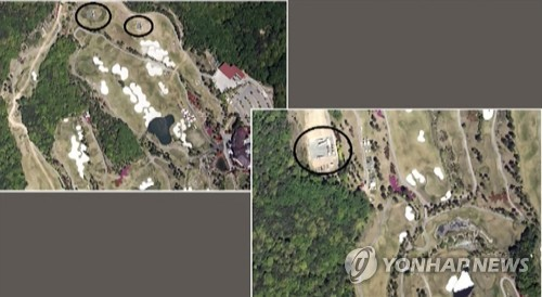 North Korea's Korean Central TV Broadcasting Station released what it claims are satellite images of the Terminal High Altitude Area Defense system deployed in South Korea's Seongju county on May 8, 2017. (For Use Only in the Republic of Korea. No Redistribution) (Yonhap)