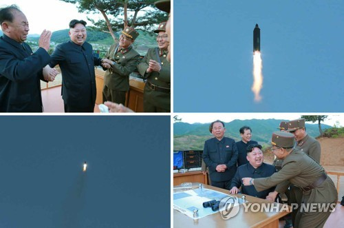 This set of photos carried by North Korea's main newspaper Rodong Sinmun on May 15, 2017, shows North Korean leader Kim Jong-un observing the test-fire of a new mid-to-long-range ballistic missile, called the Hwasong-12. (For Use Only in the Republic of Korea. No Redistribution) (Yonhap)