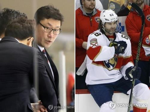 Jim Paek (L), currently head coach of the South Korean men's national hockey team, and Jaromir Jagr of the Florida Panthers could be reunited at the 2018 PyeongChang Winter Olympics. Paek and Jagr were teammates on the Pittsburgh Penguins from 1991 to 1994. (Yonhap/AP)