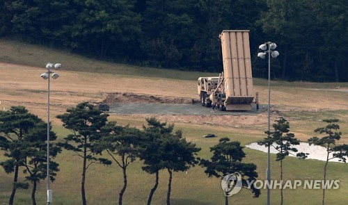 This photo, taken on May 30, 2017, shows a THAAD rocket launcher deployed at what used to be a private golf club in Seongju, a county located some 300 kilometers south of Seoul, that has been acquired and provided by South Korea's defense ministry to the U.S. Forces in Korea for the deployment of the THAAD missile defense system. (Yonhap)