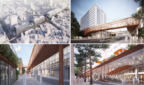 These images, provided on June 1, 2017, by the Seoul Metropolitan Government, show blueprints for a new Seun Sangga by the winner of a design contest run by the city. (Yonhap)