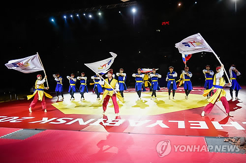 In this photo provided by the World Taekwondo Federation (WTF) on May 12, 2015, a WTF demonstration team performs during the opening ceremony of the 2015 WTF World Taekwondo Championships in Chelyabinsk, Russia. (Yonhap)
