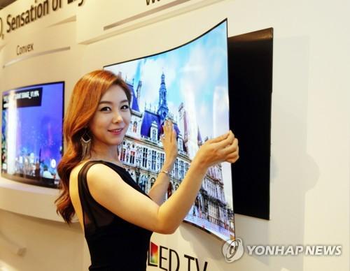 LG's premium OLED TV on display (Yonhap)