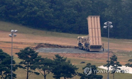 A THAAD interceptor launcher is deployed at a former golf course in Seongju North Gyeongsang Province