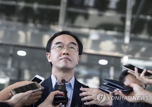 This photo taken on June 15, 2017, shows Cho Myoung-gyon, the nominee for South Korea's unification minister speaking to reporters over inter-Korean relations. (Yonhap)
