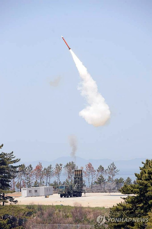 A file photo of a test of the Cheongung anti-aircraft missile in 2015. (Yonhap)