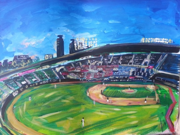 This acrylic painting, provided by Andy Brown, shows Jamsil Stadium in Seoul during a Korea Baseball Organization game. (Yonhap)
