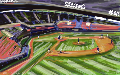 This painting, hand drawn by Andy Brown on a tablet, shows the Korea Baseball Organization clubs LG Twins and Doosan Bears in action at Jamsil Stadium in Seoul. (Yonhap)