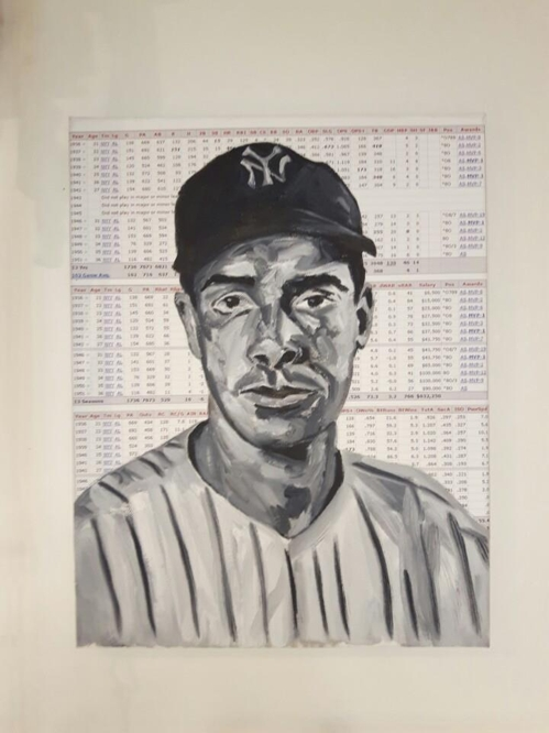 This photo shows Andy Brown's portrait of former Major League Baseball star Joe DiMaggio. (Yonhap)