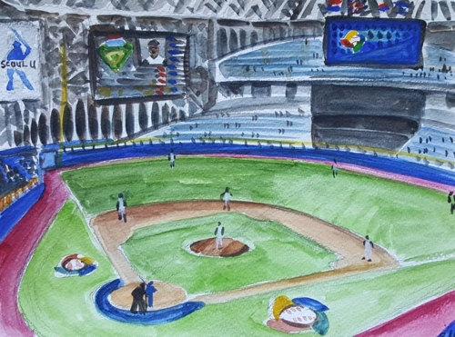 This painting, provided by Andy Brown, depicts a World Baseball Classic game inside Gocheok Sky Dome in Seoul in March 2017. (Yonhap)