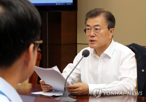 This photo, taken on June 15, 2017, shows President Moon Jae-in speaking during a meeting with his top secretaries at the presidential office Cheong Wa Dae in Seoul. (Yonhap)